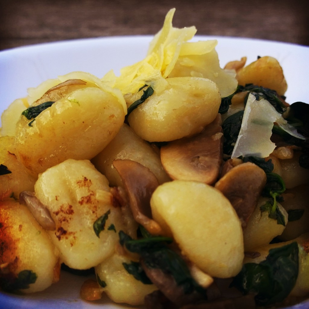 Pan Fried Gnocchi with Mushrooms & Spinach in Garlic Butter